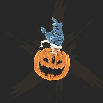 할로윈 포스터, 배너 및 티셔츠에 호박 머리와 좀비 손