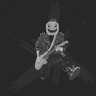 Pumpkins head rocker for halloween poster, banner and t shirt