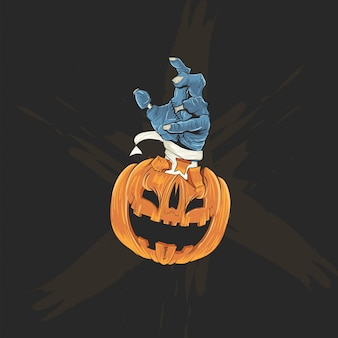 Pumpkins head and zombies hand for halloween poster, banner and t shirt
