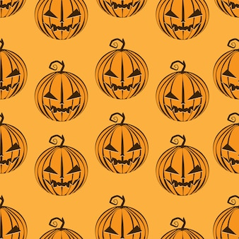 Pumpkins pattern seamless on orange happy halloween.