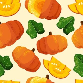 Pumpkins seamless pattern with grain shadow