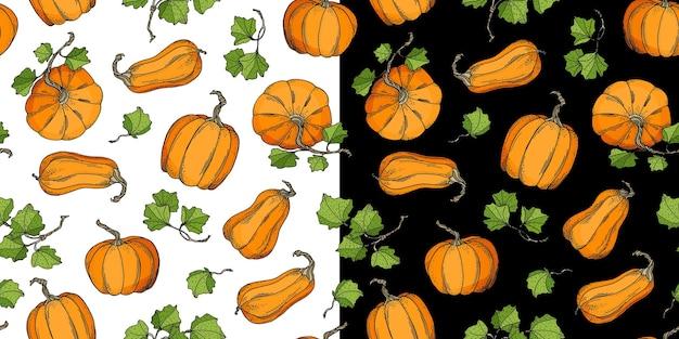 Pumpkins seamless patterns set on white and black.