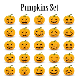 Pumpkins set for halloween on a white isolated background
