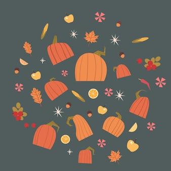 Pumpkins set harvest autumn concept vegetables and fruits collection