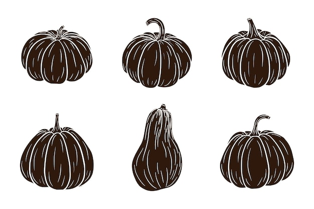 Pumpkins silhouettes set. fresh ripe pumpkins collection for stickers, prints, invitation, menu and greeting cards design and decoration. premium vector
