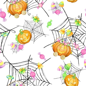 Pumpkins, sweets, cakes, cobwebs, watercolor seamless pattern, on an isolated background.