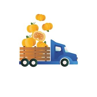 Pumpkins in a truck funny vector print pumpkin emblem element for logo packagingautumn print