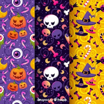 Pumpkins and witchcraft halloween pattern collection