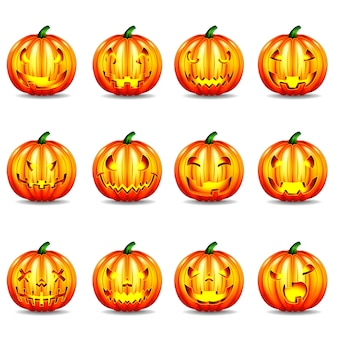 Pumpkins with face expressions