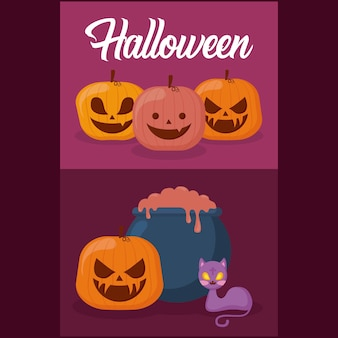 Pumpkins with halloween concept