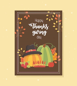 Pumpkins with hat apple leaves happy thanksgiving poster