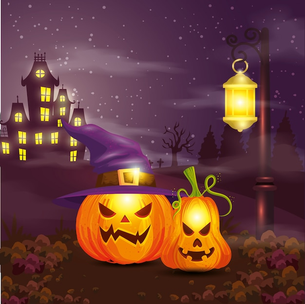 Pumpkins with hat witch in scene halloween illustration