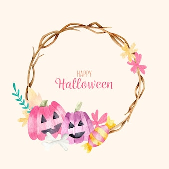Pumpkins and wreath of flowers halloween frame
