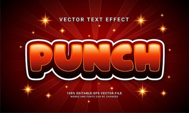 Punch 3d text style effect with red color