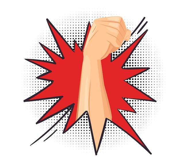 パンチ。拳は障害物、エネルギッシュな人間の手を突破します。力、革命または動機の比喩のベクトル図を表示します。障害物を介した強さ、拳の壁の漫画を壊す