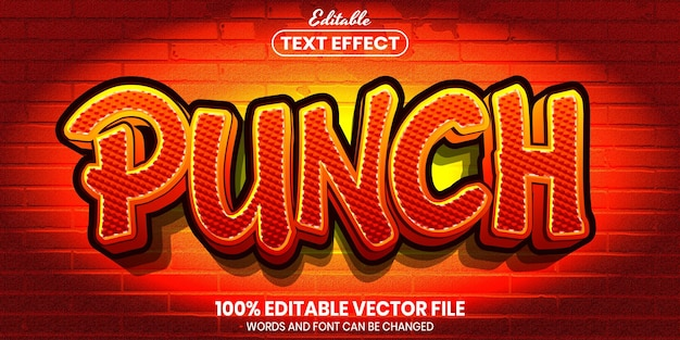 Punch text, font style editable text effect