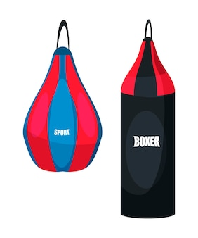 Punching bag illustration professional equipment for boxer training boxing workout sports exercising practice