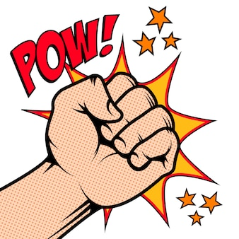 Punching fist in pop art style isolated on white background. pow!