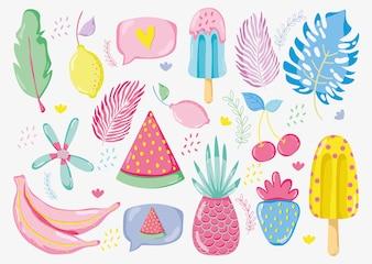 Punchy pastel fruits vector illustration graphic design
