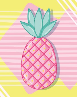 Punchy pastel pineapple vector illustration graphic design