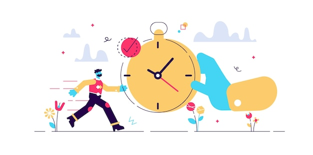 Punctual  illustration.  tiny precision timing persons . perfect schedule and accurate control for life efficiency.  characteristic visualization with time and clock.