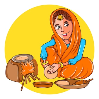 Punjabi woman making chapatis on the earthen stove.