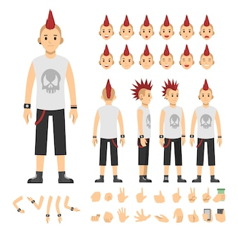 Punk casual man fashion vector illustration