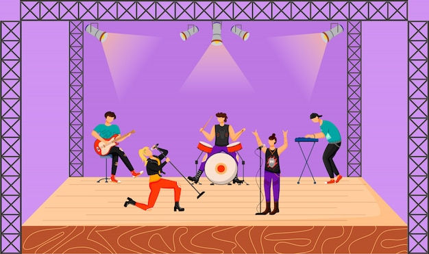 Punk rock band flat illustration. music group with two vocalists performing at concert. musicians playing together on stage. live musical performance. festival. cartoon characters