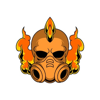 Punk skull with gas mask illustration
