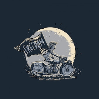 Punk with motorcycle illustration