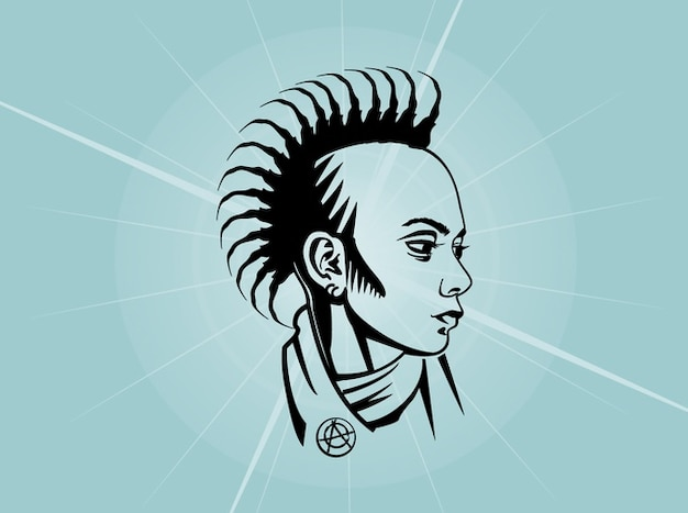 Punk young face vector