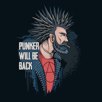 The punker man smokes his hair spikes and wears a spiked rocker jacket he returns to the world to save the earth