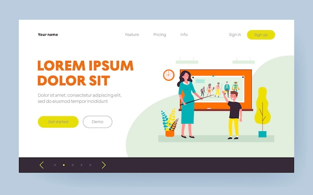 Pupil answering lesson to teacher near board. boy, evolution, school flat vector illustration. study and education concept for banner, website design or landing web page