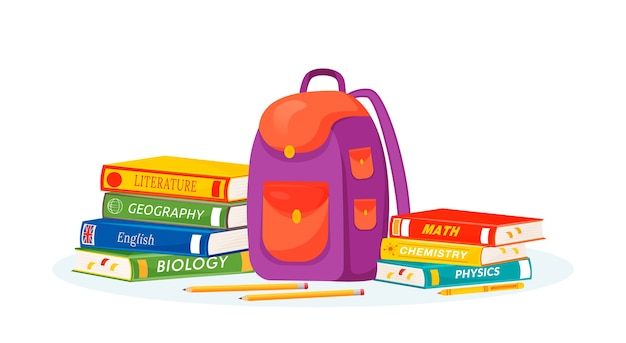 Pupil rucksack and textbooks    illustration. natural and formal sciences learning. high school subject metaphor. student backpack, stationery and books  cartoon objects