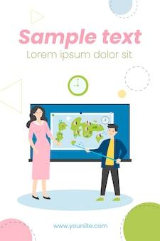 Ученик стоит с указателем возле карты и иллюстрации учителя