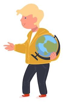 학교나 대학에서 공부하는 학생, 지리 수업을 준비하는 지구본을 들고 고립된 남학생. 행성에 대한 사실을 설명하는 몸짓 학생. 지식을 얻는 아이 또는 십대, 벡터