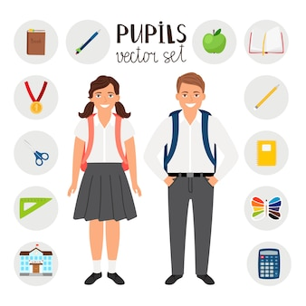 Pupils boy and girl. icons set tools stationary for school