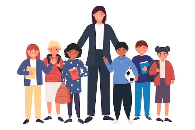 生徒の男の子と女の子。子供達。かわいいキャラクター。学校のコンセプトに戻ります。生徒は学校の準備をしています。あなたのデザインのために。