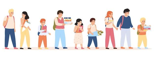 Ученики ходят в школу. дети с рюкзаками и книгами идут в школу, школьники гуляют, иллюстрации
