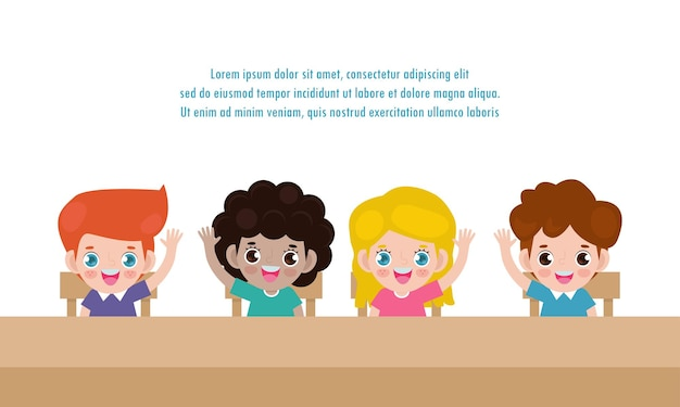 生徒は教室で手を上げることを勉強します、学校に戻るバナー。