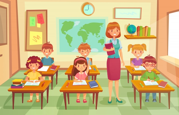 Pupils and teacher in classroom. cartoon illustration