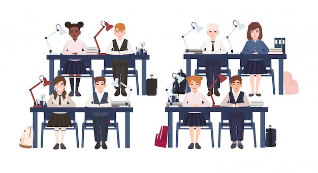 Pupils in uniform sitting at desks in classroom isolated on white background. sad and smiling elementary school boys and girls on lesson in class. colorful illustration in flat cartoon style.