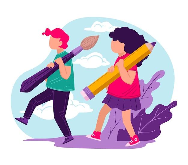Ученики с кисточкой и карандашом несут школьные принадлежности на уроке или уроках. детские персонажи изучают художественные дисциплины, образование и развитие творческих навыков, вектор хобби в плоском стиле