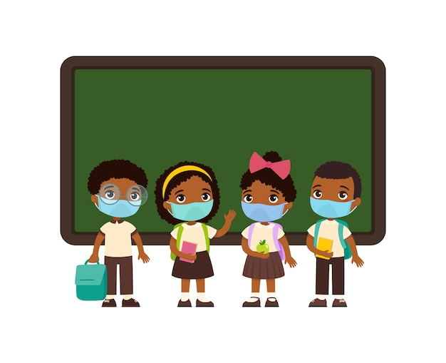 Pupils with medical masks on their faces. dark skin boys and girls dressed in school uniform  standing near blackboard  cartoon characters. virus protection, allergies  concept.