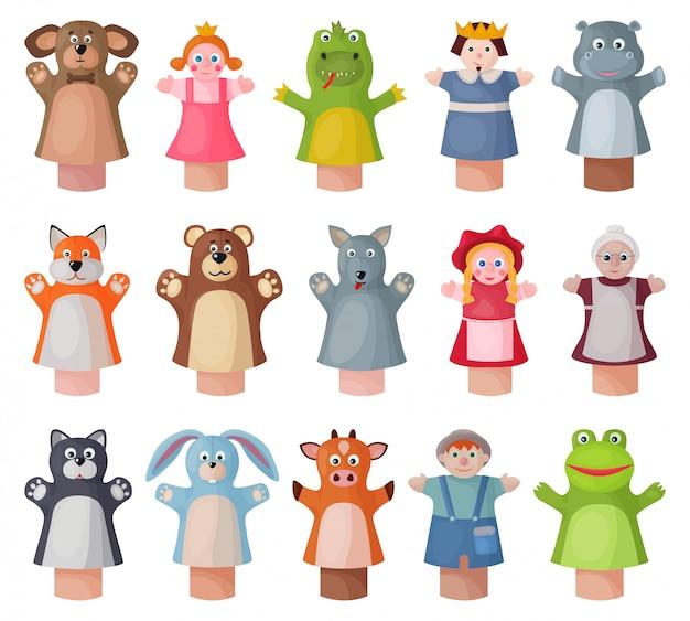 人形漫画は、アイコンを設定します。白い背景のイラスト劇場人形。漫画セットアイコン人形。