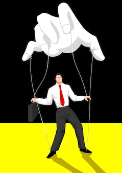 Puppet master controlling a businessman