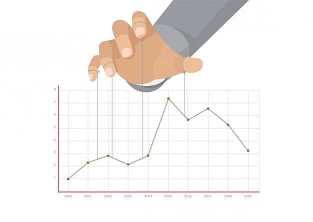 Puppet master controlling graphic business chart