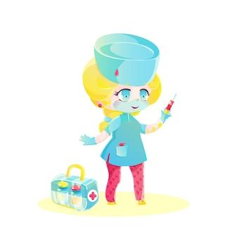 注射器と医療バッグを持つ金髪の人形看護師