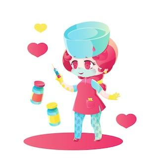 注射器と2つのバイアルを持つピンクの髪の人形看護師。漫画の子供のスタイル、明るいグラデーション