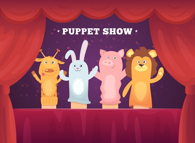 人形芝居。漫画の手の靴下のおもちゃで子供のステージの赤いカーテン劇場のパフォーマンス